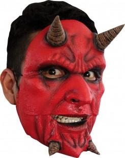 Verrückter Dämon Maske Halloween Kostümaccessoire rot-beige
