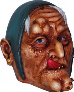 Hexenmaske Halloween Maske braun-blau