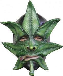 Kanabisblatt-Maske für Erwachsene grün-grau
