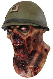 Soldaten Zombie Maske Halloween Kostümaccessoire grün-rot