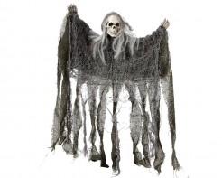 Schauriges Skelett Halloween-Hängedeko grau-weiss 50x39cm
