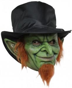 Kobold-Maske mit Hut grün-schwarz-orange