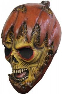 Kürbismonster Halloween-Latexmaske braun-grün