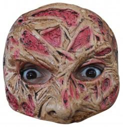 Verbranntes Gesicht Halbmaske Halloween Kostümaccessoire beige-rot