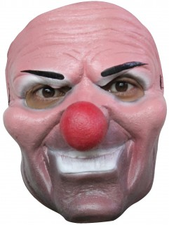 Schauriger Clown Halloween-Latexmaske rosa-bunt