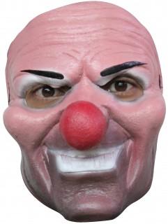 Schauriger Clown Halloween-Latexmaske rosa-bunt