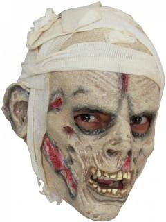 Bandagierte Zombie-Maske Mumien-Maske grau