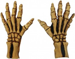 Skelett-Handschuhe Halloween Kostümaccessoire beige