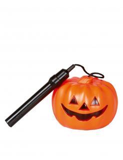Taschenlampe Kürbis Halloween Zubehör schwarz-orange 25 cm lang