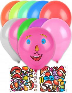 Luftballons mit Gesichtsticker 10 Stück bunt