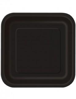 Party-Teller quadratische Teller 14 Stück schwarz 23x23cm