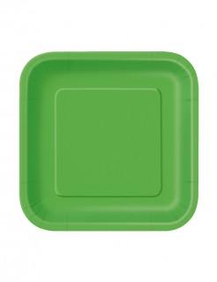 Pappteller-Set viereckig 16 Stück grün 18cm
