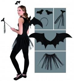 Süsses Fledermaus Kostüm-Set Halloween 4-teilig schwarz