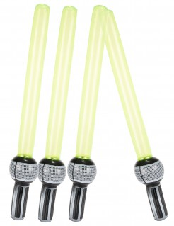Aufblasbare Lichtschwerter-Set 4 Stück grau-schwarz-grün 72cm