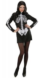 Sexy Skelett Halloween Damenkostüm schwarz-weiss