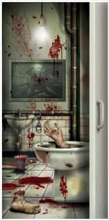 Halloween-Türdeko Blutiges Badezimmer bunt 76x152cm