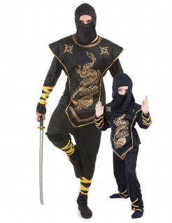 Ninja-Paar-Kostüm Partnerkostüm Vater und Sohn schwarz-gold