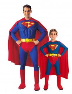 Superman™-Paarkostüm für Vater und Sohn Halloweenkostüm blau-rot