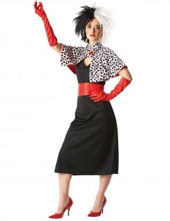Cruell-Kostüm für Damen schwarz-weiss-rot