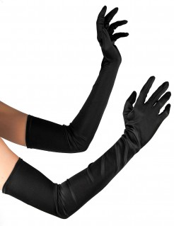 lange Handschuhe sexy Halloween-Accessoire schwarz