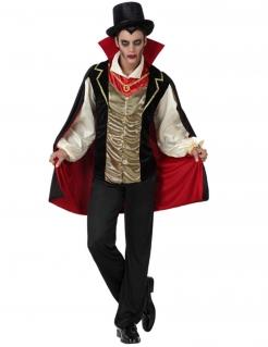 Vampirgraf Halloween-Herrenkostüm schwarz-gold-rot