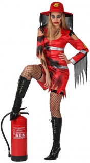 Zombie-Feuerwehrfrau Halloween-Damenkostüm rot-schwarz