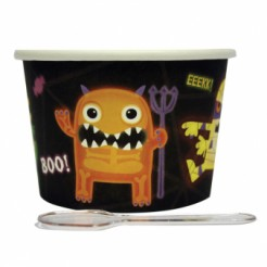 Süsses Monster Halloween Dessert-Set Becher mit Löffel 24-teilig bunt