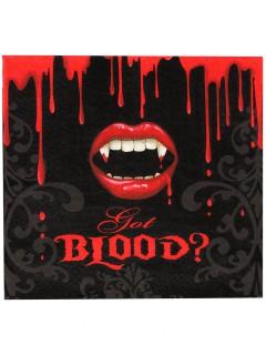 Blutige Vampirbiss Halloween Servietten 16 Stück schwarz-rot-weiss 33cm