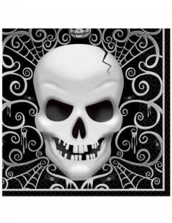 Servietten Totenkopf Halloween-Party Deko 16 Stück schwarz-weiss 33x33cm