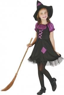 Hexenkostüm für Mädchen schwarz-lila
