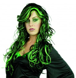 Schwarz-grüne Perücke für Damen w-g