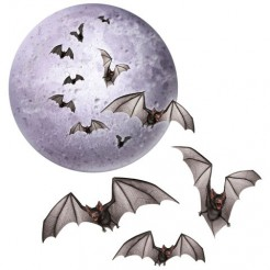 Halloween-Ausschnitte Fledermäuse und Mond 4-teilig lila-schwarz