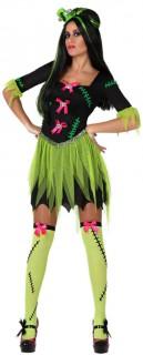 Frankensteins Braut Halloween Kostüm für Damen schwarz-grün-rosa