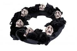 Trauerkranz mit Totenschädeln Halloween-Deko schwarz-beige 38cm