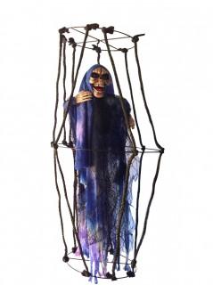 Skelett im Käfig - leuchtende Hängedeko Halloween mit leuchtenden Augen  schwarz-beige-lila 80 cm groß