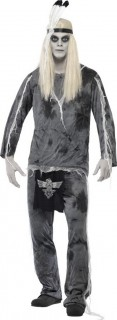 Zombie Indianer Halloween-Kostüm schwarz-grau