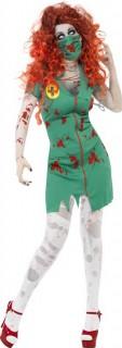 Zombie OP-Krankenschwester Halloween Damenkostüm grün-rot