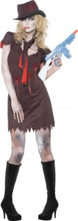 Zombie Gangster Halloween-Damenkostüm schwarz-rot