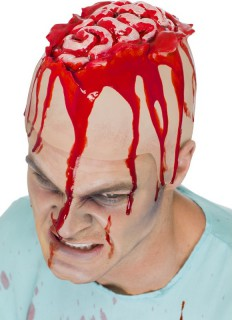Offenes Gehirn Horror Latex Mütze rot-haut