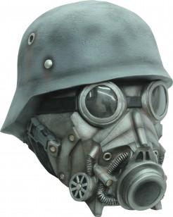 Soldat mit Gasmaske - Maske für Erwachsene grau