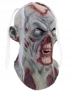 Halloween Zombie Totenkopf-vollmaske mit Haaren grau