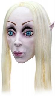 Elfen-Maske Untot weiss-blau