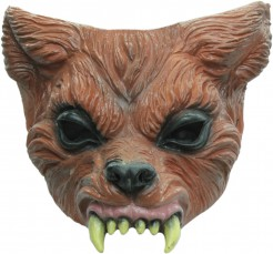 Halloween Tiermaske Werwolf-Halbmaske