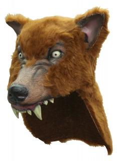 Wolf-Latexmaske Wolfsmaske für Erwachsene braun-schwarz-weiss