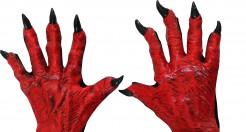 Halloween Teufels-Handschuhe mit Krallen rot-schwarz