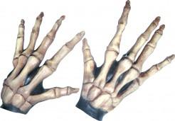 Halloween kurze Skelettknochen-Handschuhe für Erwachsene weiss