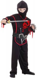 Ninja-Kostüm für Kinder Kinder-Fasching-Kostüm 10-teilig schwarz-rot