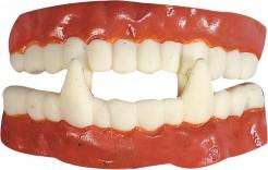 Vampir-Gebiss aus Kautschuk Halloween Kostümaccessoire weiss-rot