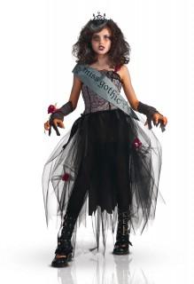 Gothic Prom Queen Prinzessin Halloween-Kinderkostüm grau-schwarz