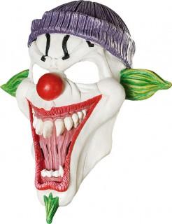 Schauderhafte Clowns-Maske Halloweenaccessoire weiss-grün-rot-lila